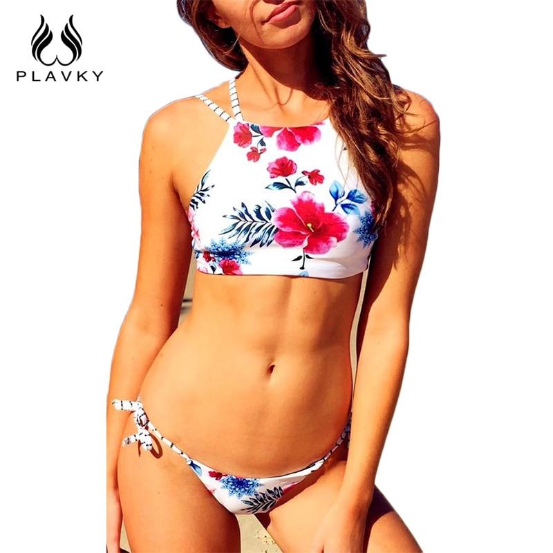 2017 Summer Reversible High Neck Fringe Floral Micro Biquini Swim Bathing Suit Female Swimwear Women Brazilian Bikini Swimsuit<br><br>Aliexpress