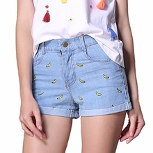 Tengo 2017 Spring summer women shorts with bananas Women's denim shorts female high waist shorts casual short pants Jeans woman(China)