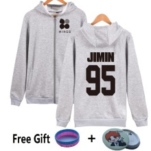 Gray Navy New 2017 J-HOPE JIN BTS 2th Album WINGS Hoodies Women SUGA JIMIN V JUNG KOOK Sweatshirt Bangtan Boys Fleece Streetwear