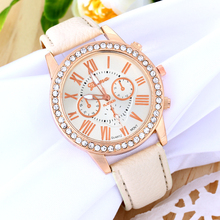 Elegant Ladies' Fashion Jewelry Watches Rhinestone Plated PU Leather Strap Casual Quartz Wrist Watch Women Analog Watches