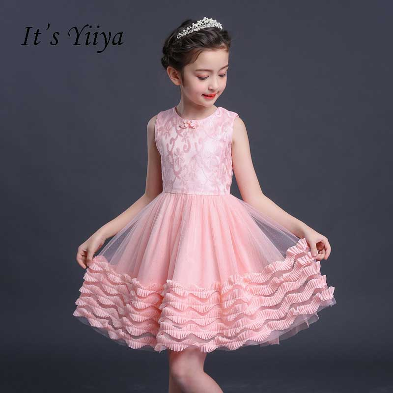 It's yiiya Flower Girl Dresses For Party Wedding Kid Child Clothing Bow Sleeveless Lace Tiered Lovely Elegant Girls Dress S285