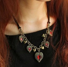 Fashion Vintage Flying Angle Wing Pendant Necklace Red Big Gem Heart Necklace