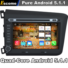 Pure Android 5.1 Car DVD Gray color for Honda CIVIC 2012 2013 With Quad Core 2G ROM Bluetooth