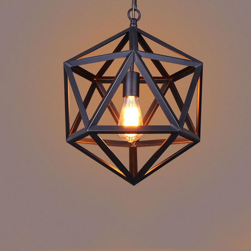American country industrial Iron loft pendant light creative polyhedron engineering cafe dining room diamond chain hanging lamp<br>