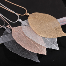 New Arrival Unique Golden True Leaf Leaves Fashion Brand Maxi Long Rope Chain Statement Pendant  Necklace for Women