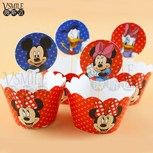 New 24pcs Mickey Minnie Mouse Plants vs Zombies Cupcake Wrapper Topper for Kids Birthday wedding Event Party cake Decoration