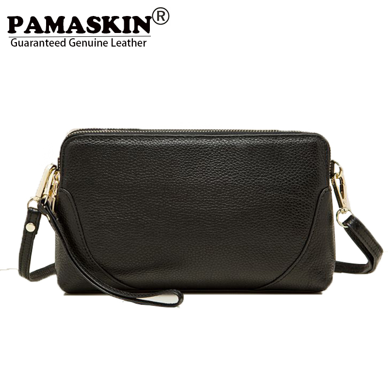 PAMASKIN 2017 Hot Selling Premium Genuine Leather Women Messenger Bags Female Day Clutches with Hand Rope Fashion Cross-body Bag<br>