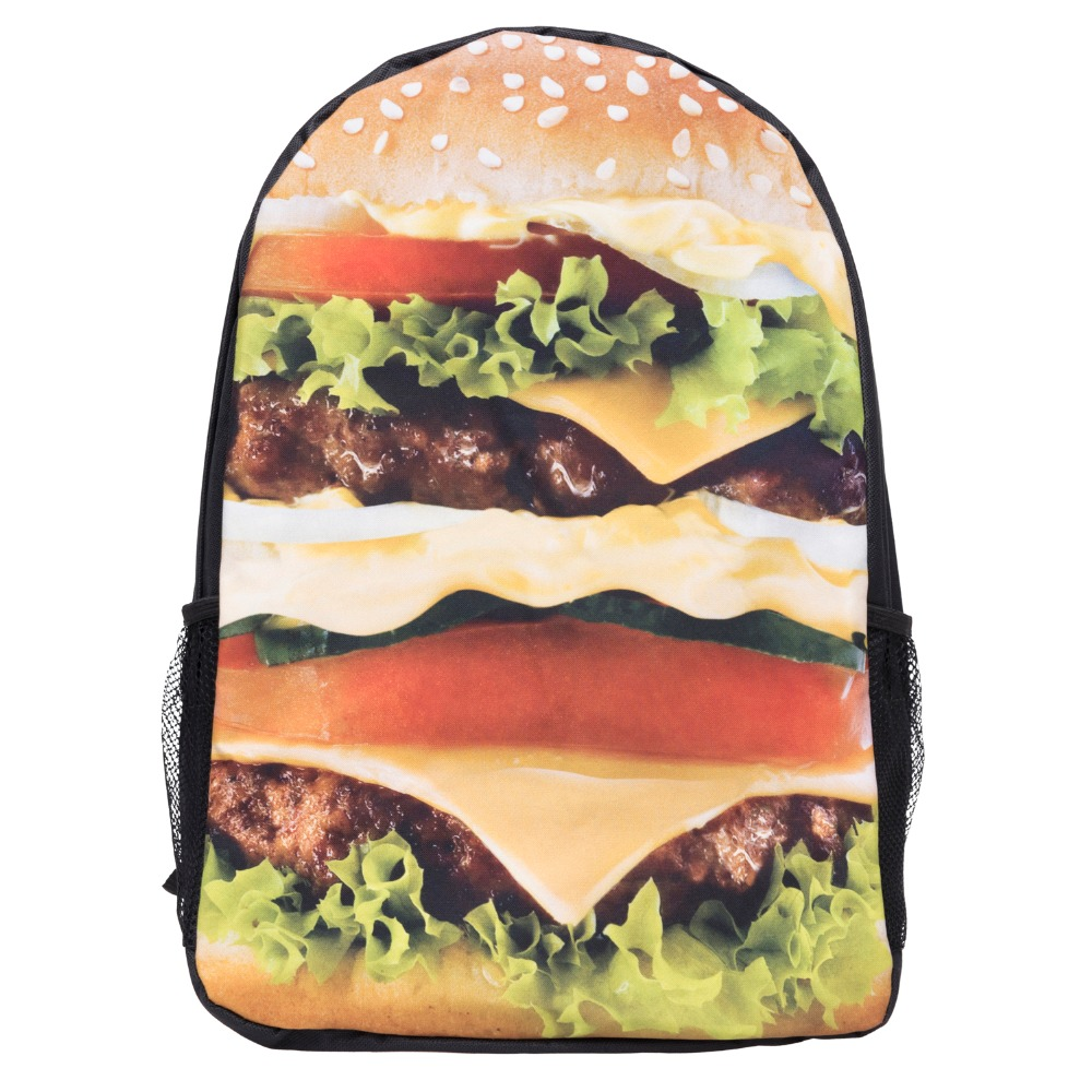 Burger 3D Printing backpack black mochila masculina 2017 Fashion New bag school canvas backpack mochilas mujer sac a dos<br><br>Aliexpress