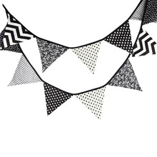 12 Flags 3.2m Originality Black and White Cotton Fabric Bunting Pennant Flags Banner Garland Baby Shower/Outdoor Tent Decoration