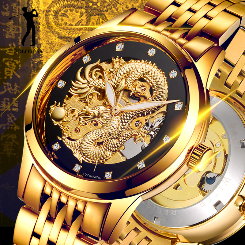 Dragon Skeleton Automatic Mechanical Watches For Men Wrist Watch Stainless Steel Strap Gold Clock 50m Waterproof Mens Hodinky<br>