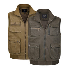 Xl-4Xl Plus Size Middle-Age Men Autumn Spring Vest With Many Pockets Stand Casual Outwear Coat Loose Waistcoat A2860