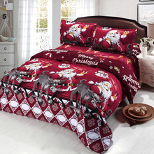 4pcs Cotton Bedding Set 3D Printed Cartoon Merry Christmas Gift Santa Claus Bedclothes Duvet Quilt Cover Bed Sheet 2 Pillowcases