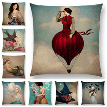 Hot Sale Elegant Lady Beautiful Girl Shakespeare Style Oil Painting Moon Music Fairytale Flower Bird Cushion Cover Pillow Case