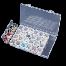 28 Slots Clear Empty Storage Box Nail Art Rhinestone Jewelry Powder sequin Display Storage Box Case Plastic Container Nail Tool(China)