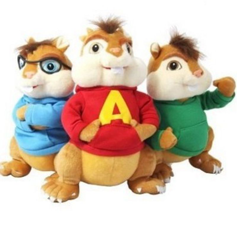 3pcs/lot 24cm Movie Alvin and the Chipmunks 4 Alvin Soft Plush Toys mouse plush dolls for kids<br><br>Aliexpress