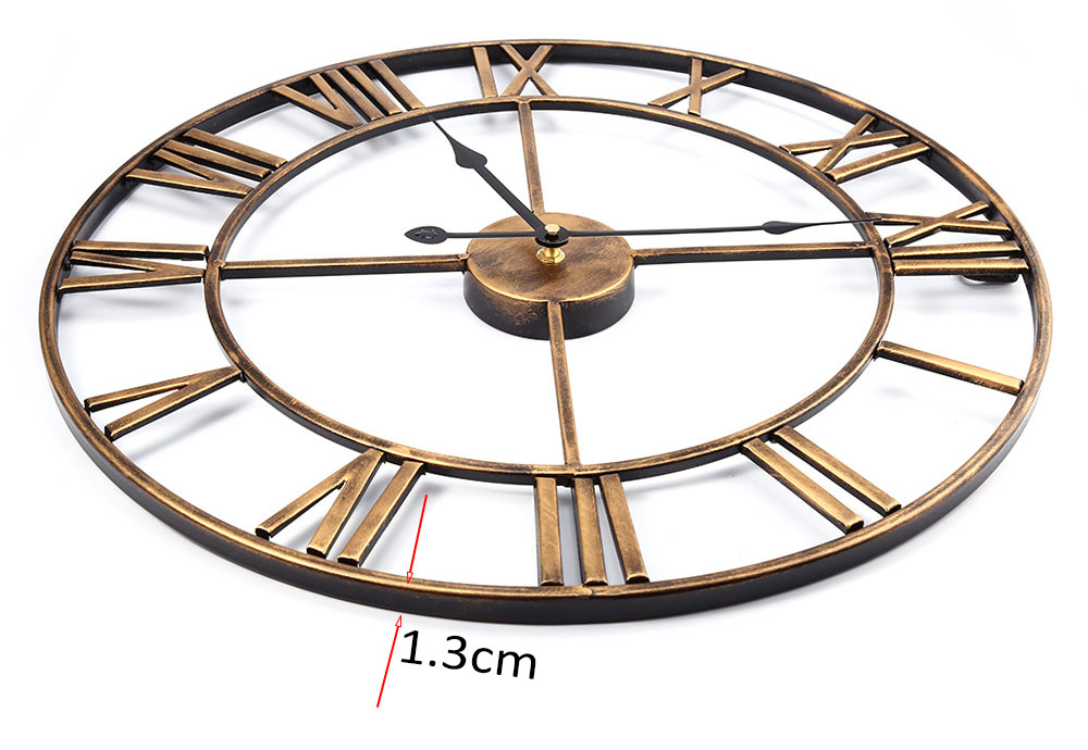 18.5 Inch 3D Large Iron Retro Decorative Wall Clock