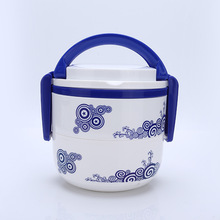 BearCavalier Large Capacity Picnic Handy Lunch Boxs Blue And White Porcelain Double Layer Round Portable Bento Box Tableware(China)