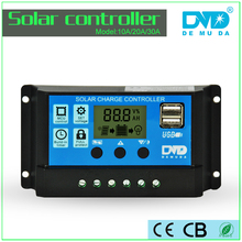 12V/24V 30A Auto Switch LCD Display Solar Charge Controller With 2 USB Application For Solar System/Homeage/Moving Equipment