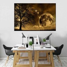 1 Pcs Glass Planet With shadow Canvas Print Painting Modern Hot Air Balloon Wall Picture Night  Artwork for Living Room Decor