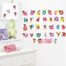 % Baby gift Cartoon Dora children bedroom decor alphabet wall stickers for kids room adhesive nursery wall decals poster mural(China)