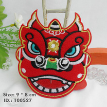 "100527 Red Perform Lion Dances! Iron-On Patches ""Easy To Apply, Just Iron-On"" Guaranteed 100% Quality +Free Shipping(China)"
