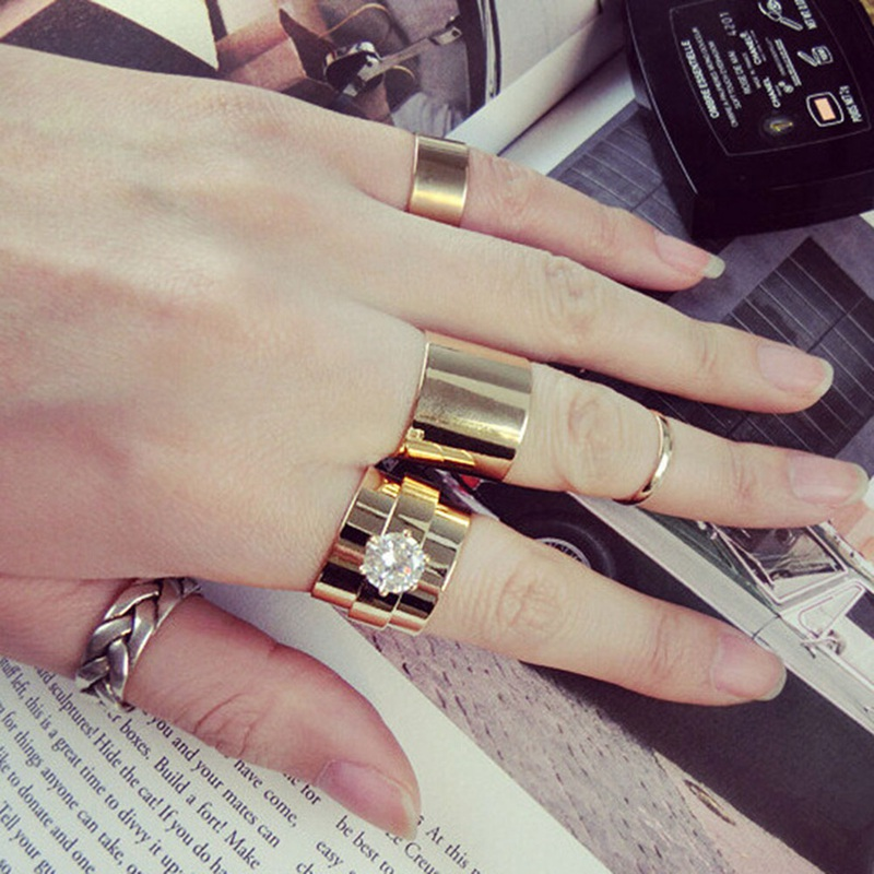 European And American Style Hipsters Heavy Metal Series Flash Di Amond Ring Combination Four-piece Ring