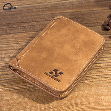 2017 HOT High Quality Men Wallets Vintage PU Nubuck Skin Short Purse Korean Luxury Famous Brand Men's Three Folds Wallet For Man(China)