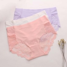 Buy Ice Silk Seamless Woman Panties Hollow Transparent Sexy Lace Women Underwear Middle Waist Soft Solid Breifs Calcinha Lingerie