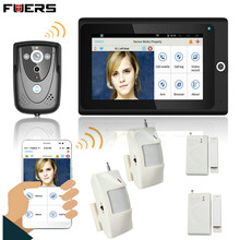 "Fuers 7""WiFi Wireless Video Door Phone Intercom Doorbell 1mp Camera PIR IR Night Vision Home Alarm System Control By Smartphone"