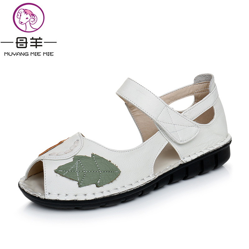 MUYANG MIE MIE Summer Genuine Leather Flat Sandals Fashion Open Toe Women Shoes Woman Soft Outsole Casual Sandals Women Sandals<br>