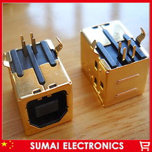 Free shipping 10pcs high quality 3u gold plating USB 2.0 data port connector USB B type female socket jack connector(China)