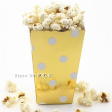 24pcs Polka Dot Gold Foil Paper Popcorn Boxes,Metallic Party Favor Boxes,Candy Snack Treat Cups,Carton,Wedding Favor Box,Holiday(China)