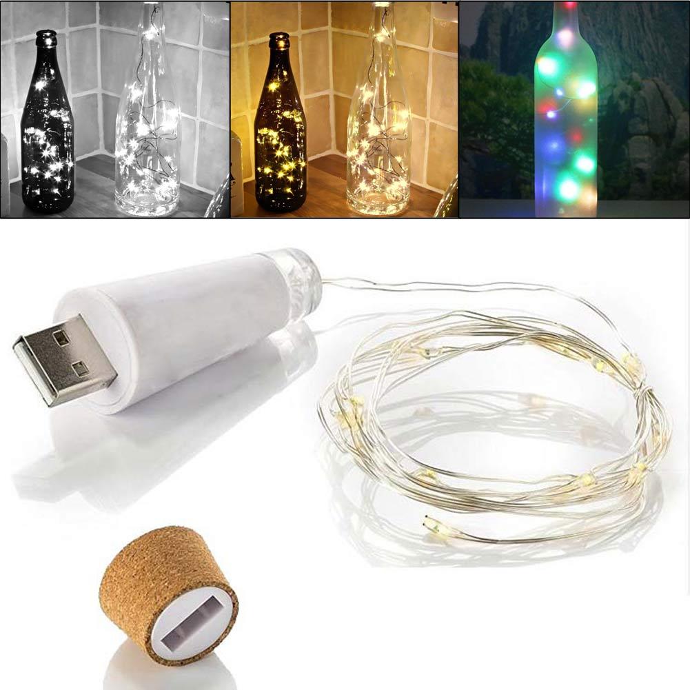 USB LED Fairy Light Cork Lamp Wine Bottle Stopper Night Lights Rechargeable