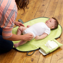 Waterproof Portable Baby Diaper Changing Mat Nappy Changing Pad Travel Changing Station Clutch Baby Care Products Hangs Stroller(China)