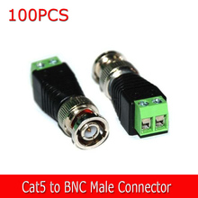 New 100pcs/Lot Coax CAT5 To Camera CCTV BNC Male Video Balun Connector adapter