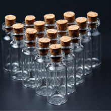 20 Pcs/pack 16x35 mm Tiny Small Clear Cork Glass Bottles Vials 2 ml For Wedding Holiday Decoration