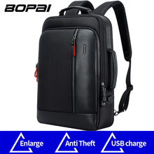 BOPAI Anti theft Enlarge Backpack USB External Charge 15.6 Inch Laptop Backpack Men Waterproof School Backpack bags for Teenager(China)
