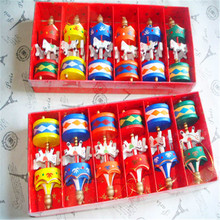 6pcs/box Merry Christmas Wood Carousel Horse Ornaments Mini Beautiful Wooden Xmas Children Gift Toys New Year Christmas Pendant