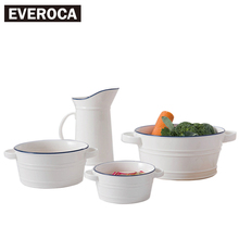 Creative Pastoral Binaural Bowl Double Edged Home Blue Stripe Salad Bowl Fruit Bowl Western Style