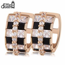 Effie Queen Beautiful Black/Clear Mix Color Zircon Stud Earrings High Polished Luxury Wedding Earrings for Women DDE20