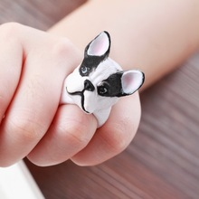 Kittenup 2016 New PVC Animal Jewelry Fashion Cute Cartoon Bulldog Puppy Dog Open-end Wrap Rings For Women Men Gifts