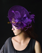 Purple Big sinamay fascinator hat with sinamay leaves&feathers for Tea Garden party Royal Races Kentucky derby.