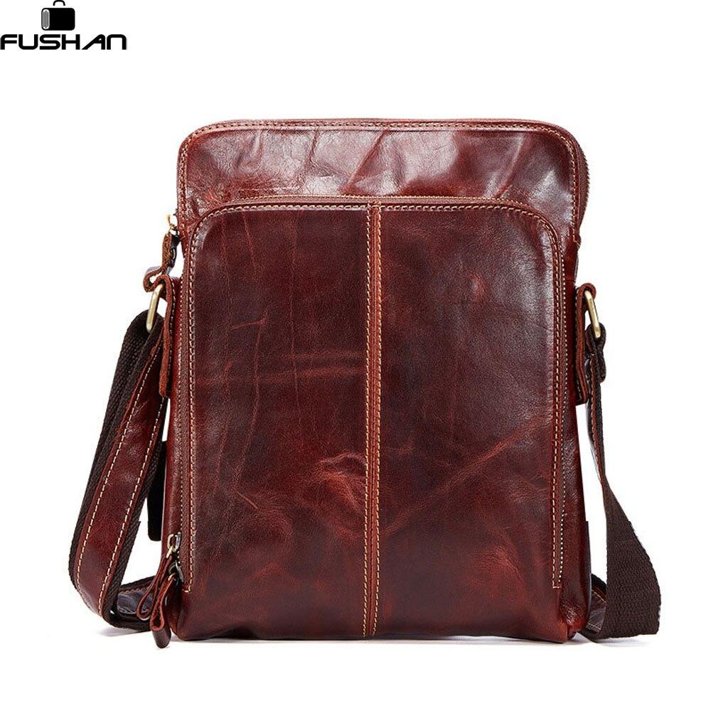 100% Genuine Leather Messenger bag men Brand Vintage casual Shoulder Bag Business Flip buckle crossbody mens travel bag<br>