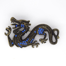 Antique Bronze Blue Rhinestone Dragon Pin brooches C299 B4(China)