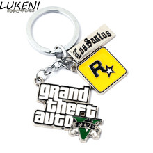 LUKENI PS4 GTA 5 Game keychain Hot Sale Grand Theft Auto 5 Key Chain For Fans Xbox PC Rockstar Key Ring Holder Jewelry YSL001