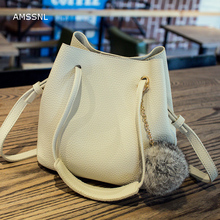 AMSSNL new style simple leisure bucket inclined shoulder bag open pocket purses for women young people shopping leather handbags