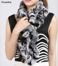 harppihop fur 329-02 Long Real Rex Rabbit Fur knitting Scarf Neck Warmer Scarves Shawl Poncho Stole great christmas gift