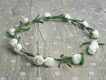 Simple Wedding Rose Headband Adult Flower Hair Crown Ivory Hairband Birthday Pageant Party Carnival Music Festival Supplies(China)