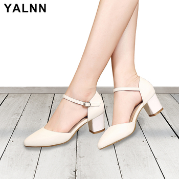 Yalnn Leather Women Sandals Sumer 2018 High Heels Shoes Ankle Strap Heels Party Dress Sandals Cover Heels Shoes Big Size 34-43