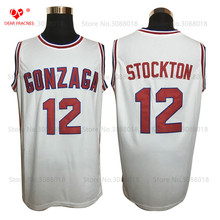 Cheap GONZAGA BULLDOGS #12 John Stockton Jersey Throwback College Basketball Jersey Vintage Retro Basket Shirt For Men Stitched(China)